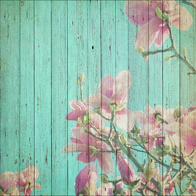 Mixed Media - Sweet Flowers On Wood 08 by Aloke Creative Store
