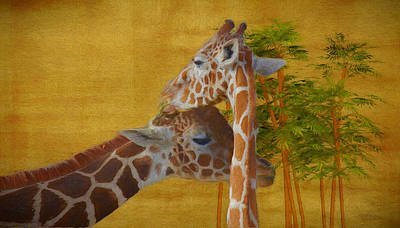 Painting - Sweet Giraffes - Painting by Ericamaxine Price