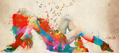 Lyrical Digital Art - Sweet Jenny Bursting With Music Cropped by Nikki Marie Smith