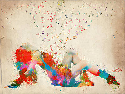 Colorful Digital Art - Sweet Jenny Bursting With Music by Nikki Smith