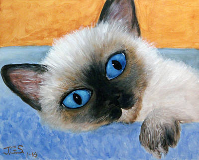 Painting - Sweet Kitty Blue Eyes by Janet Greer Sammons