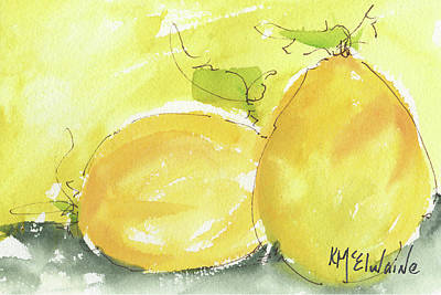 Sweet Lemon Watercolor Painting By Kmcelwaine Art Print by Kathleen McElwaine