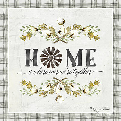 Painting - Sweet Life Farmhouse 5 Home Windmill Cotton Boll Laurel Leaf Buffalo Check Plaid by Audrey Jeanne Roberts