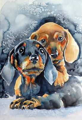 Sweet Little Dogs Art Print by Kovacs Anna Brigitta