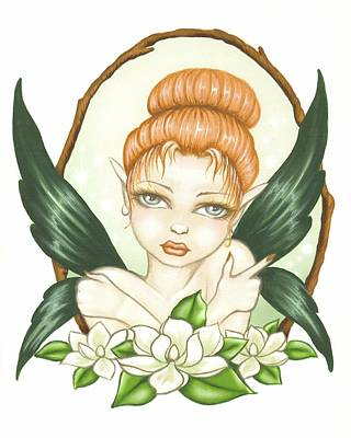 Sweet Magnolia Fae Art Print by Elaina  Wagner