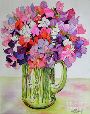 Sweet Peas In A Glass Jug Art Print