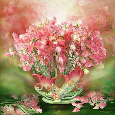 Sweet Peas In Sweet Pea Vase 2 Art Print by Carol Cavalaris