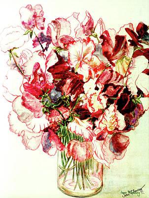Sweet Pea Flowers Painting - Sweet Peas by Joan Thewsey