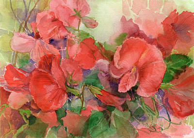 Painting - Sweet Peas by Garden Gate