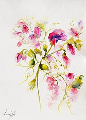 Watercolour Painting - Sweet Peas Popping by Lucia Del