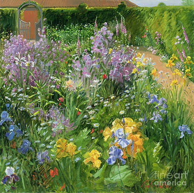 Sweet Rocket - Foxgloves And Irises Art Print by Timothy Easton