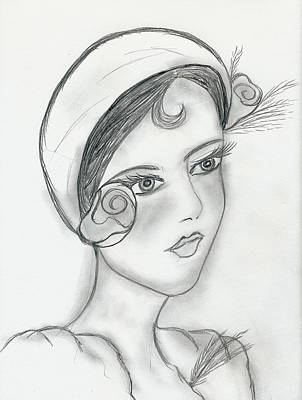 Drawing - Sweet Rose Flapper by Sonya Chalmers