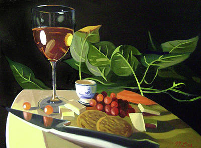 Long Stem Wine Glass Painting - Sweet Sharp And Salty 2 by JJ Long