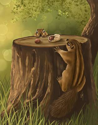 Squirrel Painting - Sweet Snack by Veronica Minozzi
