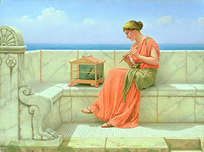 Pipe Painting - Sweet Sounds by John William Godward