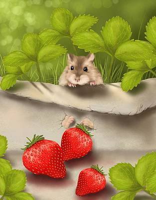 Strawberry Painting - Sweet Surprise by Veronica Minozzi