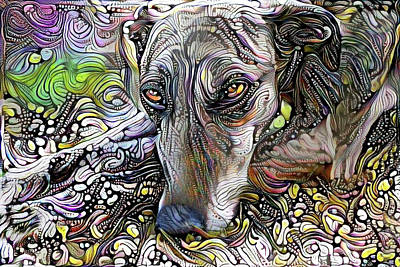 Digital Art - Sweet Suzy The Greyhound by Peggy Collins