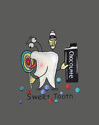 Knock Digital Art - Sweet Tooth T-shirt by Anthony Falbo