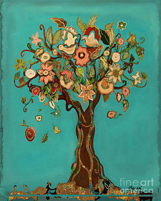 Quilt Collage Mixed Media - Sweet Tree by Carrie Joy Byrnes