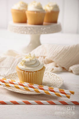 Photograph - Sweet Vanilla Cupcake With Straws by Sandra Cunningham