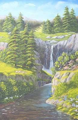 Mountain Range With Evergreens Painting - Sweet Water Falls by Lou Magoncia