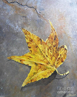 Painting - Sweetgum Leaf On Crab Orchard Stone by Lizi Beard-Ward