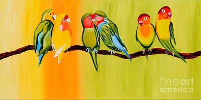 Bir Painting - Sweetheart Birds by Art by Danielle