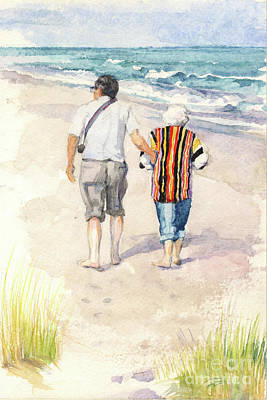 Painting - Sweethearts At The Beach by Nancy Watson
