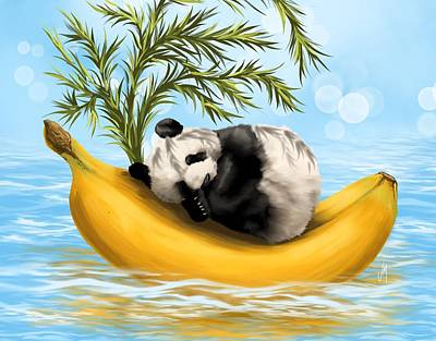 Panda Illustration Painting - Sweetly Cradled by Veronica Minozzi