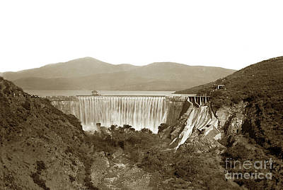Photograph - Sweetwater Dam Showing Overflowing Water, San Diego Circa 1900 by California Views Mr Pat Hathaway Archives