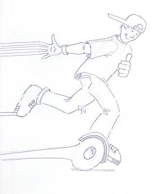 Drawing - Swegway Hoverboard Fun Cartoon by Mike Jory