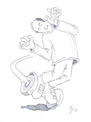 Drawing - Swegway Hoverboard Geezer Cartoon by Mike Jory