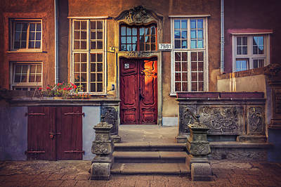 Entrance Door Photograph - Swietego Ducha Street In Gdansk  by Carol Japp
