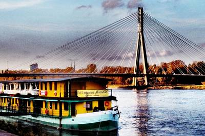 Photograph - Swietokrzyski Bridge Over Vistula River In Warsaw by Dora Hathazi Mendes