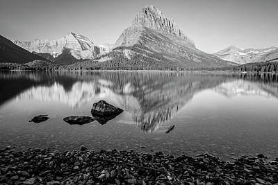 Photograph - Swift Current Lake Reflection Black And White  by John McGraw