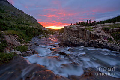 Photograph - Swiftcurrent Falls Summer Sunrise by Adam Jewell