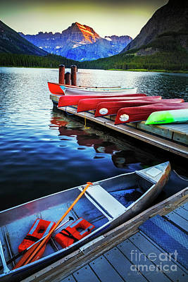Photograph - Swiftcurrent Lake And Canoes by Craig J Satterlee