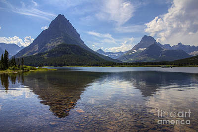 Photograph - Swiftcurrent Lake And Mount Grinnell by Spencer Baugh