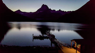 Photograph - Swiftcurrent Lake And Pier In Glacier National Park by Marilyn Burton