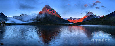 Photograph - Swiftcurrent Sunrise Glow Panorama by Adam Jewell