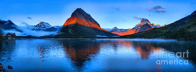 Photograph - Swiftcurrent Sunrise Stripe Panorama by Adam Jewell