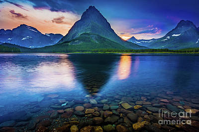 Reflective Surfaces Photograph - Swiftcurrent Twilight by Inge Johnsson