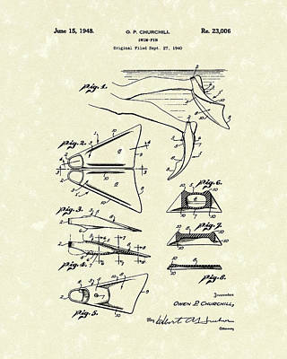 Antique Drawing Drawing - Swim Fin 1948 Patent Art by Prior Art Design