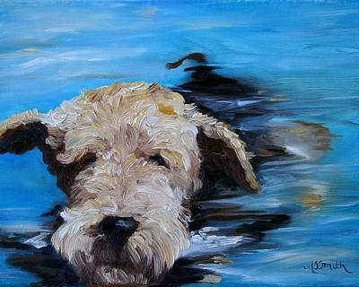Airedale Terrier Painting - Swim by Mary Sparrow