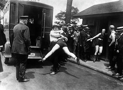 Paddy Wagon Photograph - Swim Suit Paddy Wagon Arrest C. 1922 by Daniel Hagerman