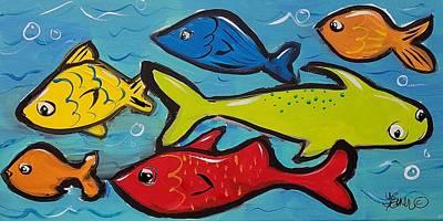 Painting - Swimin Upstream by Terri Einer