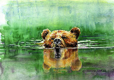 Painting - Swiming Grizzly by John D Benson