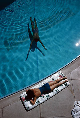 Number Of People  - Swimmer And Sunbather by Slim Aarons