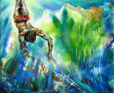 Swimmer Art Print by Lina Golan