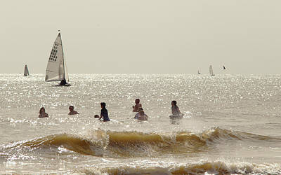 Photograph - Swimmers And Yachts by Paul Cowan